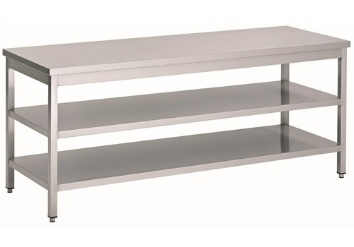 HorecaTraders Stainless Steel Work Table with 2 shelves | 60 cm deep | 14 formats