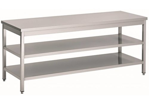 HorecaTraders Stainless steel workbench with 3 shelves | 70 cm deep | 14 Formats