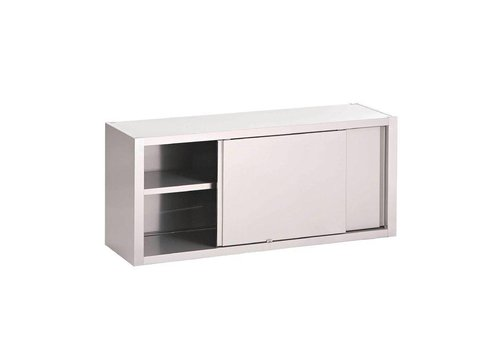 HorecaTraders Wall cupboard with sliding doors stainless steel | 7 Formats