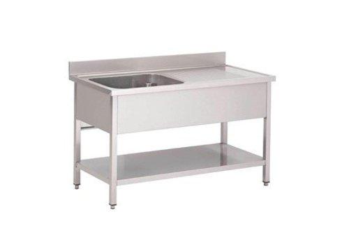 HorecaTraders Stainless steel sink with bottom sheet | sink left | 160x70x85 cm