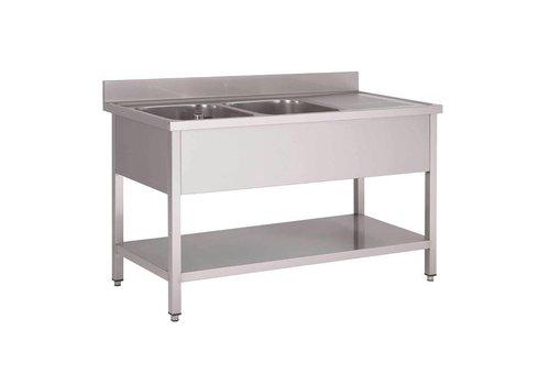 HorecaTraders Rinse Stainless Steel | sink left | 160x70x85 cm