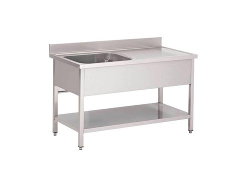 HorecaTraders Washbasin Stainless Steel with left sink 120x70x85 cm
