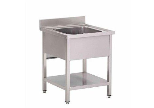 HorecaTraders Sink Stainless Steel with under shelf | 70x70x85 cm