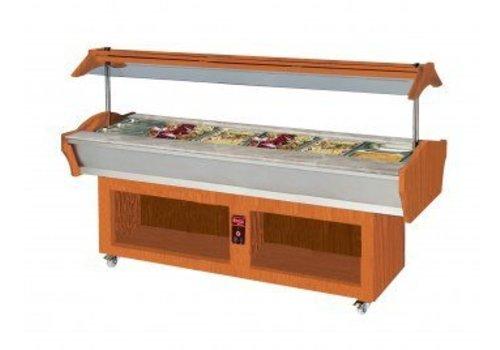 Saro Verwarmde buffetbar 6 x 1/1GN Walnoot