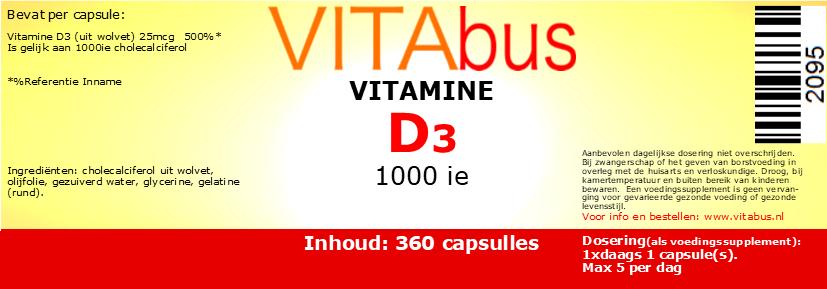 Vitabus Vitamine D3 25 mcg 1000ie 360 capsules