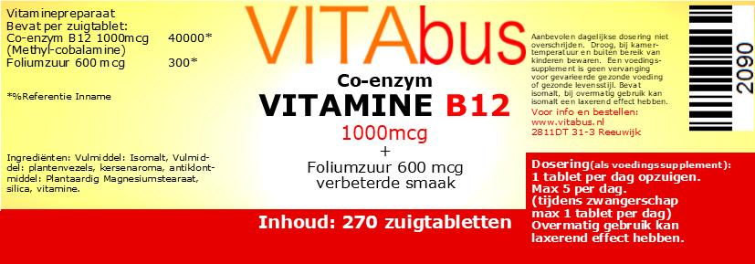 Vitabus Vitamine B12  270 vegetarische zuigtabletten