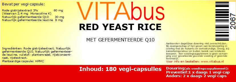 Vitabus Rode gistrijst + Q10, 180 vegetarische capsules
