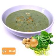 Proteine groene groentensoep met croutons