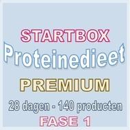 28 dagen FASE 1 startbox voor een premium proteinedieet. Weekprijs = 59,98 euro/week