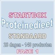 28 dagen FASE 1 startbox voor een standaard proteinedieet. Weekprijs = 57,38 euro/week
