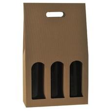 3-fles draagkarton met venster open golf naturel