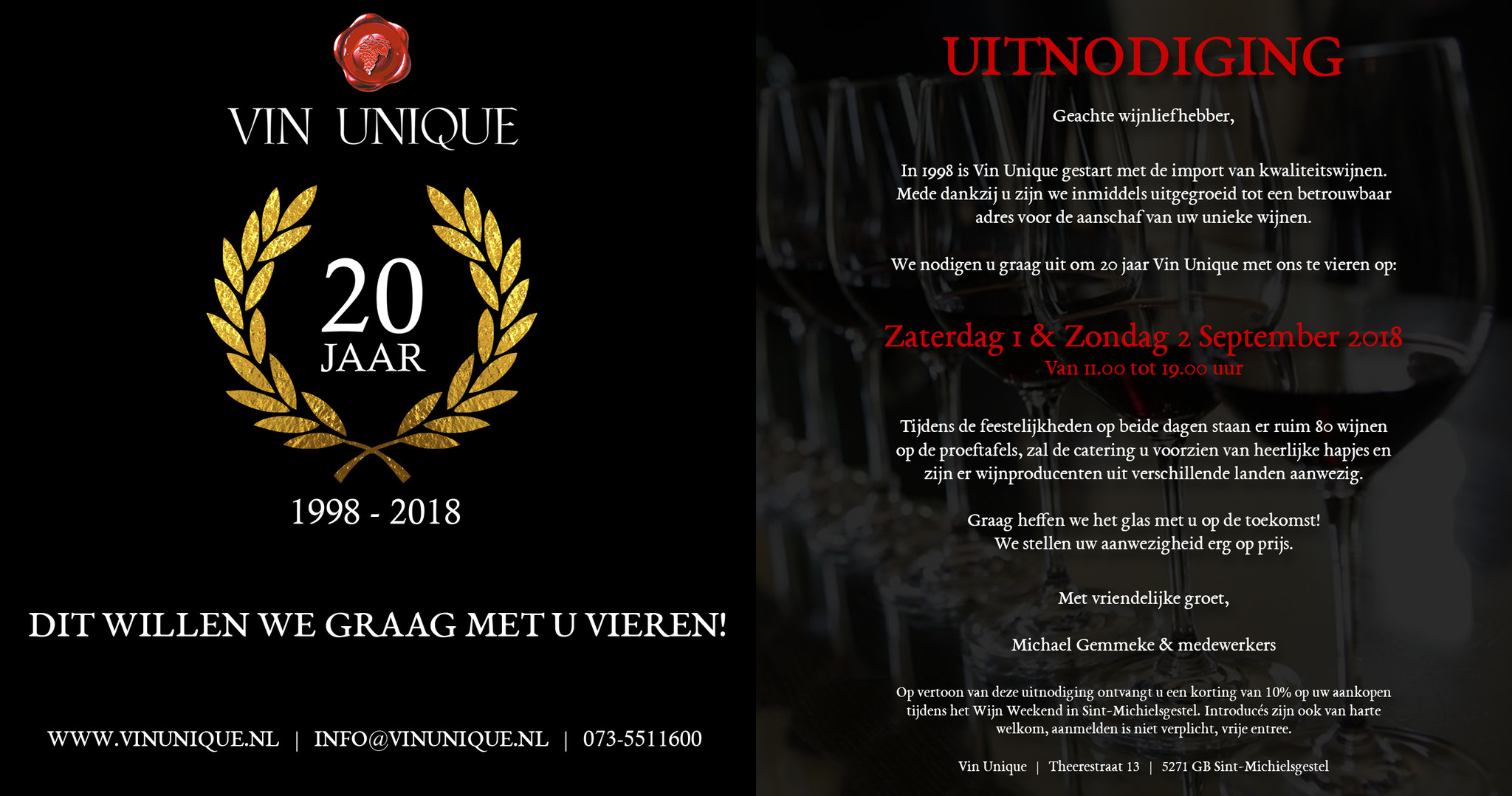 Open Wijn Weekend 20 jarig bestaan Vin Unique - 1 en 2 september 2018
