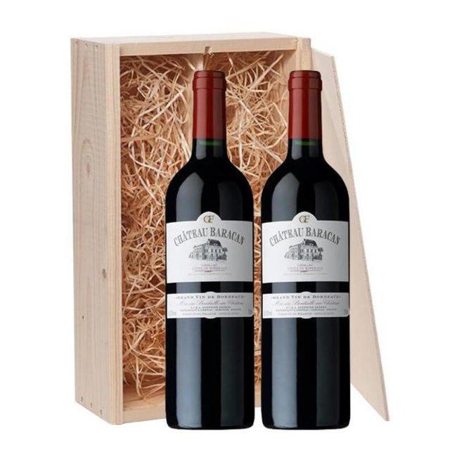 2-fles wijnkist Château Baracan - Côtes de Bordeaux, Frankrijk