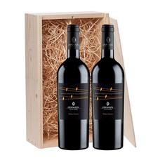 2-fles wijnkist met Odoardi Terra Damia - Calabrië, Italië