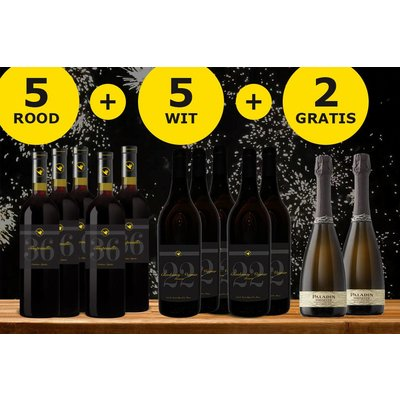 Feestdagen Pakket bestaande uit 10 flessen wijn + 2 flessen gratis