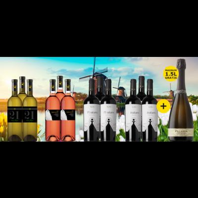 Staycation Pakket bestaande uit 12 flessen wijn + 1 MAGNUM