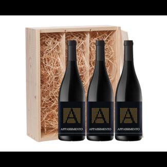 3-fles wijnkist Appassimento Progetto Vino - Puglia, Italië