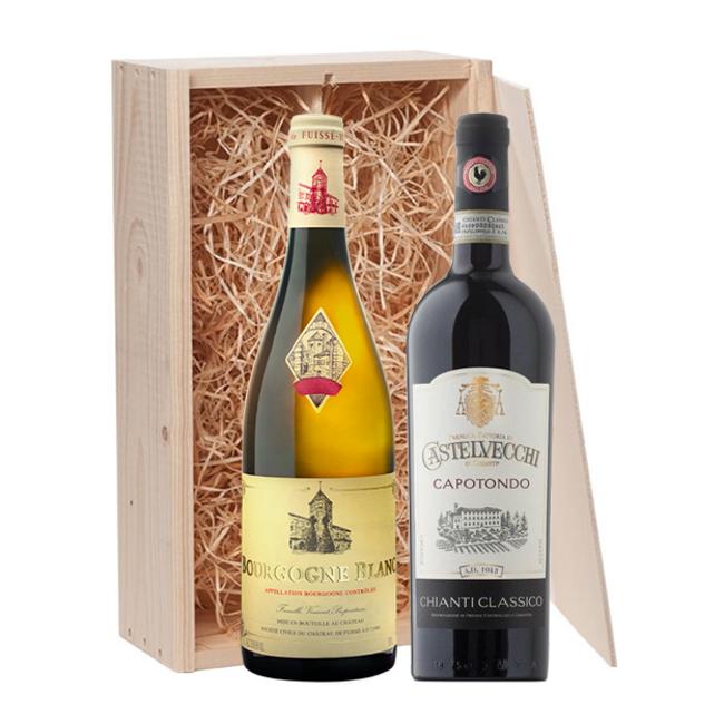 2-fles wijnkist Bourgogne Blanc Château de Fuissé & Capotondo Chianti Classico - Bourgogne/Toscane, Frankrijk/Italië