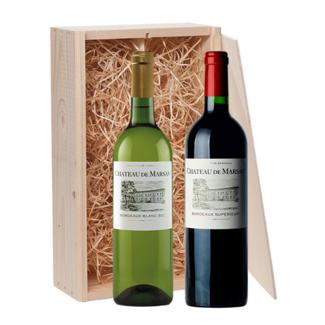 2-fles wijnkist Château de Marsan Blanc & Rouge - Bordeaux, Frankrijk