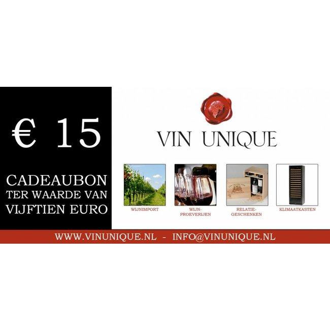 Wijncadeaubon ter waarde van € 15,00