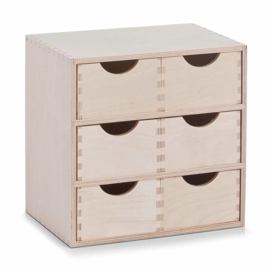 Zeller Present Houten ladeblok met 6 gelijke lades