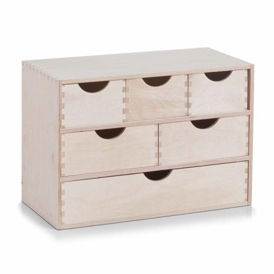 Zeller Present Houten ladeblok met 6 lades
