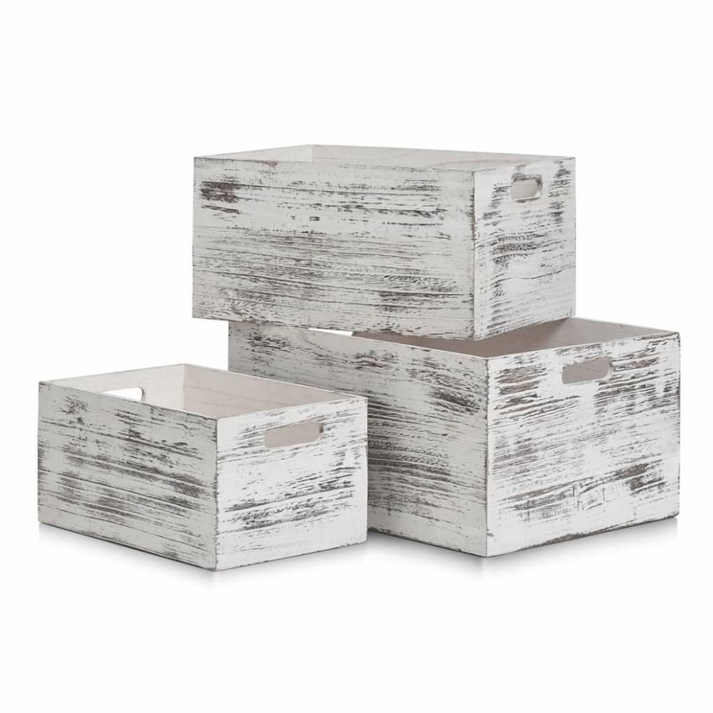 Witte Houten Box.Houten Kist Rustiek Wit 20 Liter