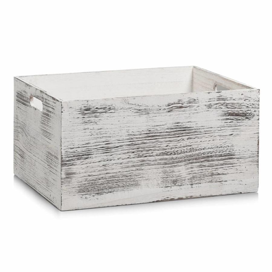 Zeller Present Houten kist rustiek wit 24 liter