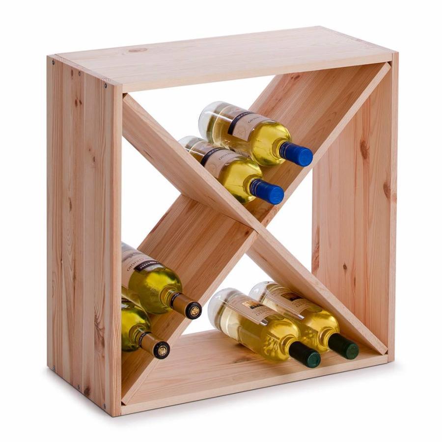 Zeller Present Houten wijnrek met kruisverdeling