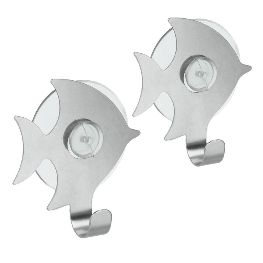 Metaltex | Tomado Set van 2 RVS haakjes vis met zuignap