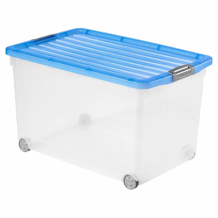 CURVER Opbergbox met deksel en wielen Click and Fit 60 liter