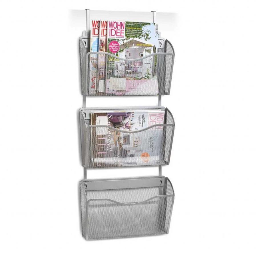 Zeller Present Tijdschriftenrek voor deur en wand metaal grijs