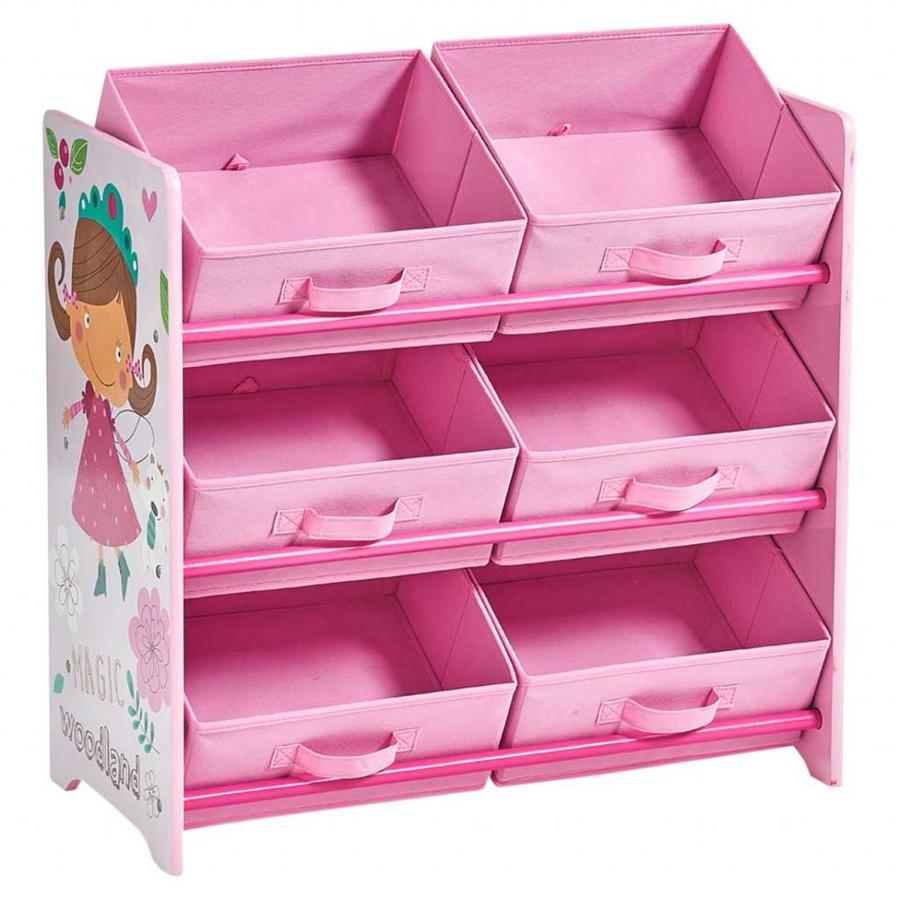 Zeller Present Opbergrek kinderkamer met 6 uitneembare boxen Girly