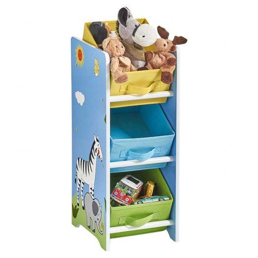 Opbergrek kinderkamer 3 boxen Safari