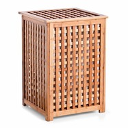 Houten wasmand met deksel bamboe