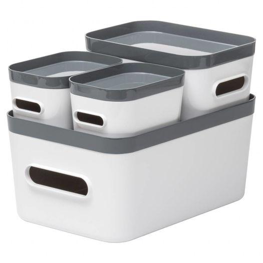 Opbergdozen Compact (set van 4) wit met grijs
