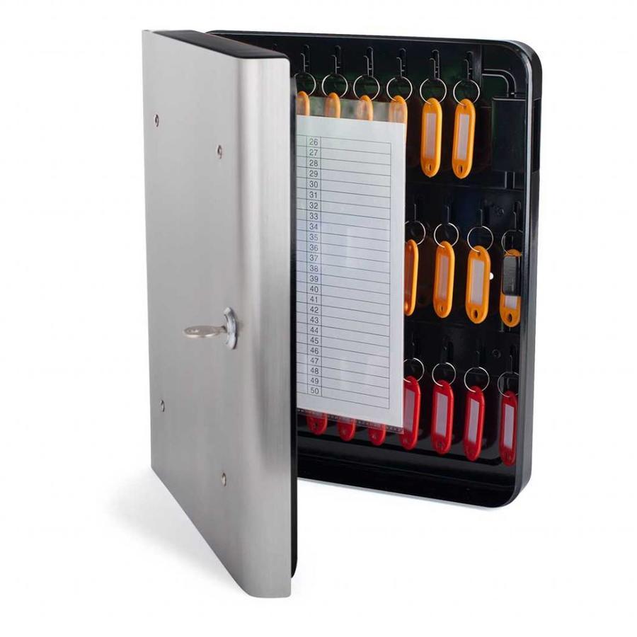 Pavo Sleutelkast met 54 haken en inwerpgleuf RVS voorfront 26 x 6 x 30 cm