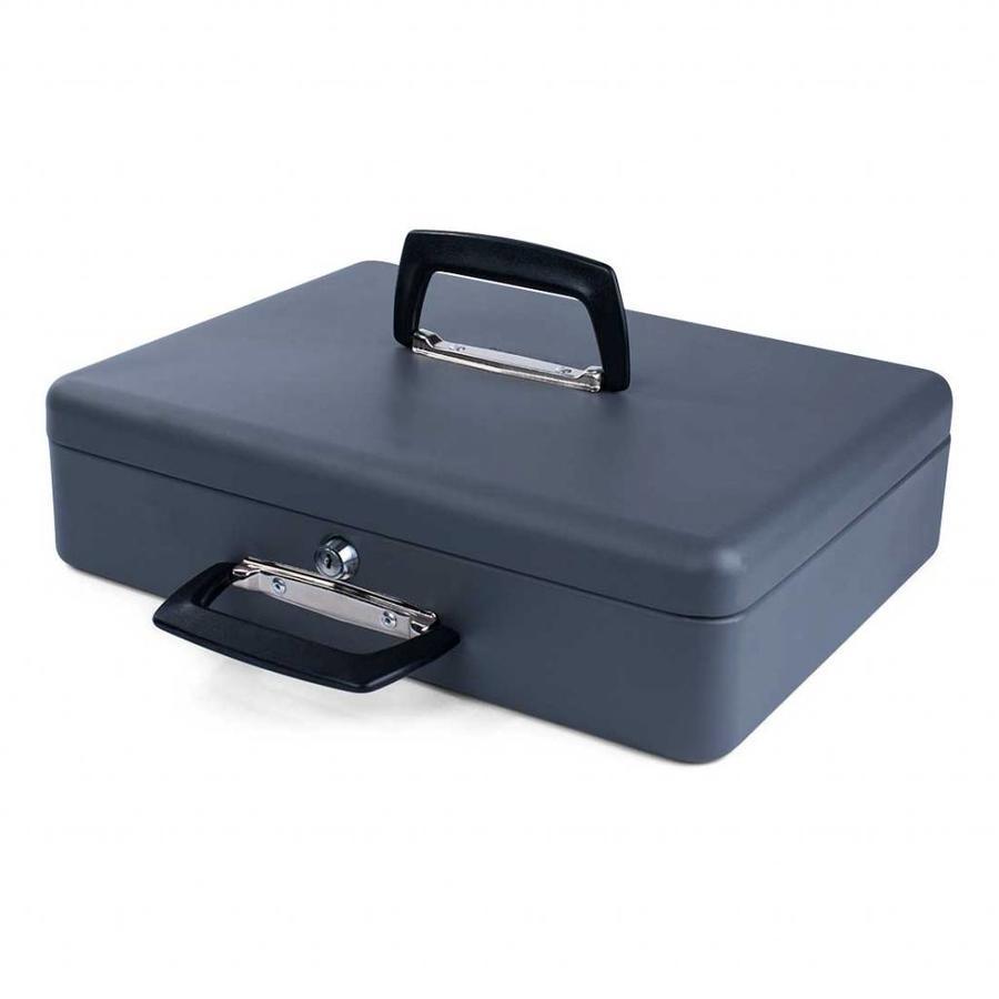 Pavo Geldkist/koffer 37 x 28 x 10 cm grijs met grote muntsorteerbak