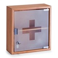Medicijnkastje bamboe met glazen deur