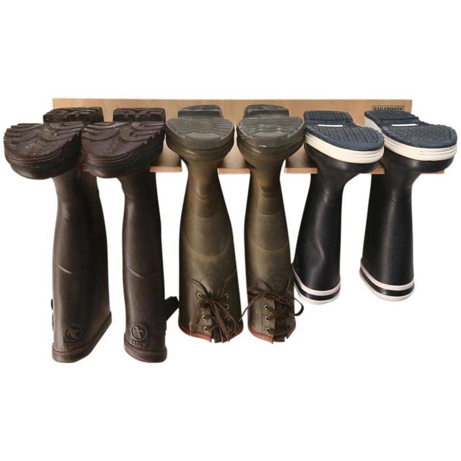 RAKABOOTS Muurlaarzenrek hout voor 3 paar laarzen