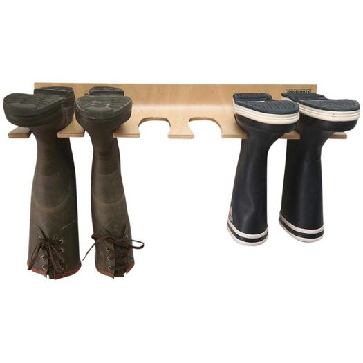 Muurlaarzenrek hout 3 paar laarzen