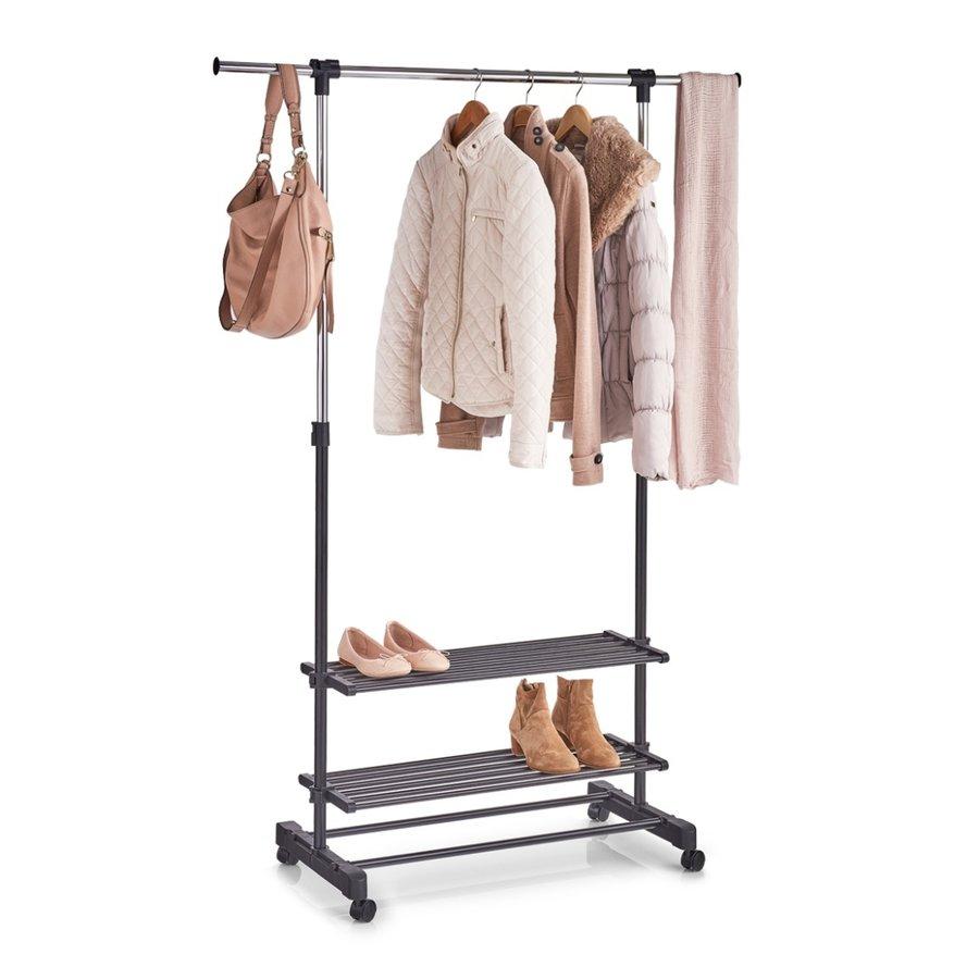 Zeller Present Mobiel kledingrek met verstelbare kledingstang en 2 opbergetages