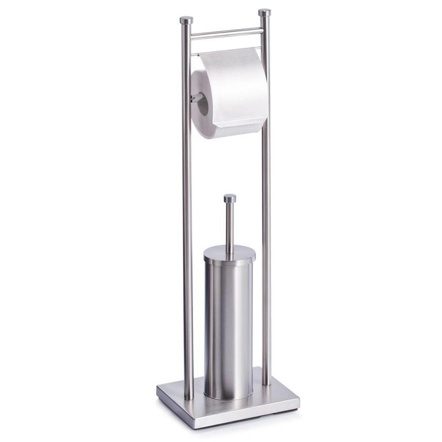 Zeller Present Toiletborstel en toiletrolhouder RVS