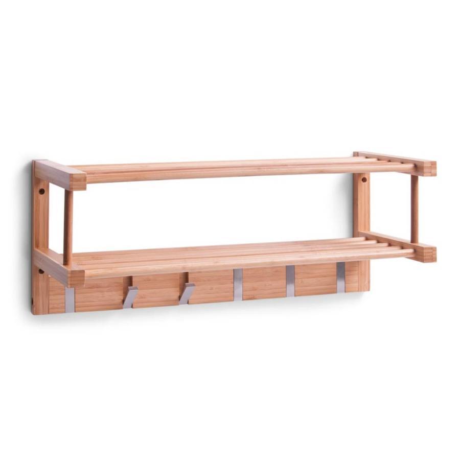 Zeller Present Wandkapstok hout met 6 inklapbare metalen kapstokhaken