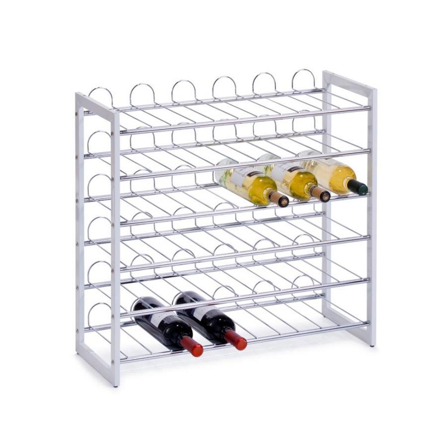 Zeller Present Wijnrek met 6 etages voor in totaal 36 wijnflessen - verchroomd