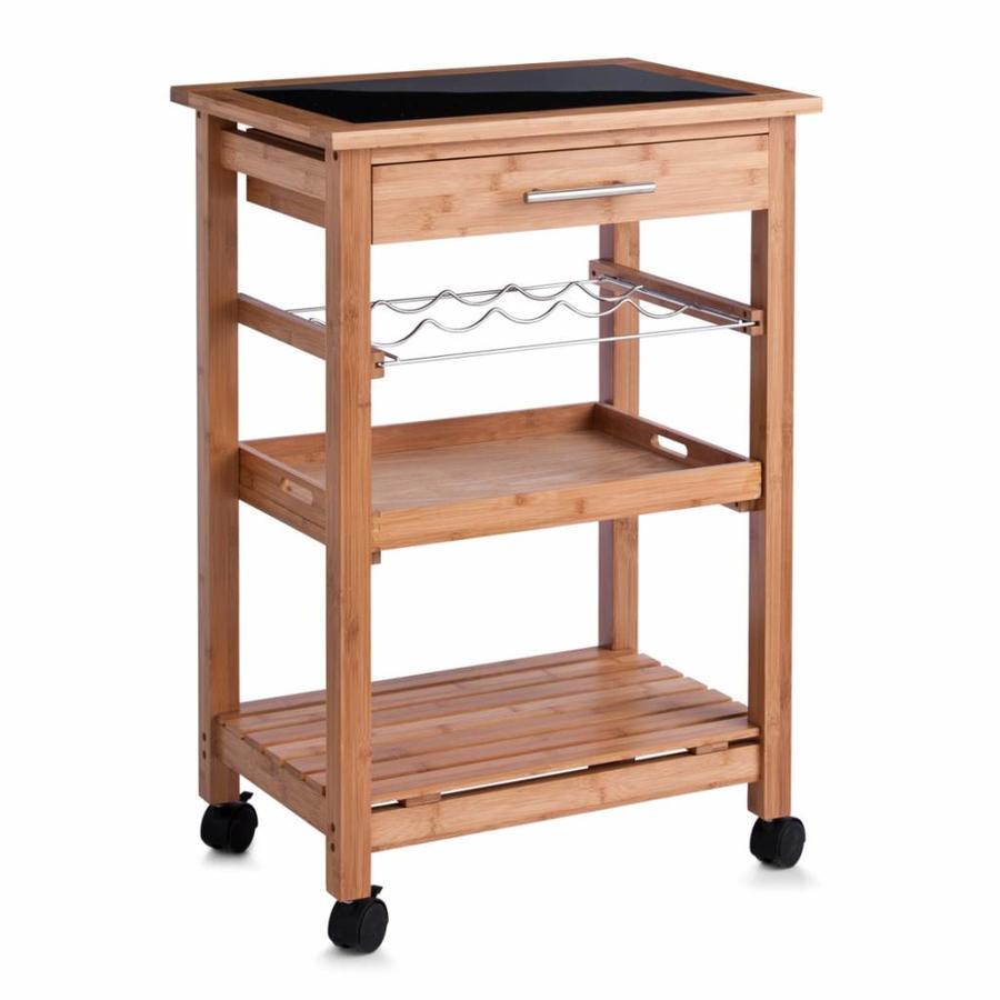 Zeller Present Keukentrolley hout met glazen bovenblad