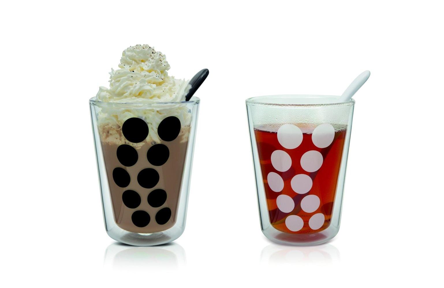 Zak!Designs Dot Dot Dubbelwandig Glas Cappuccino met Lepel 350 ml Set van 4 Stuks
