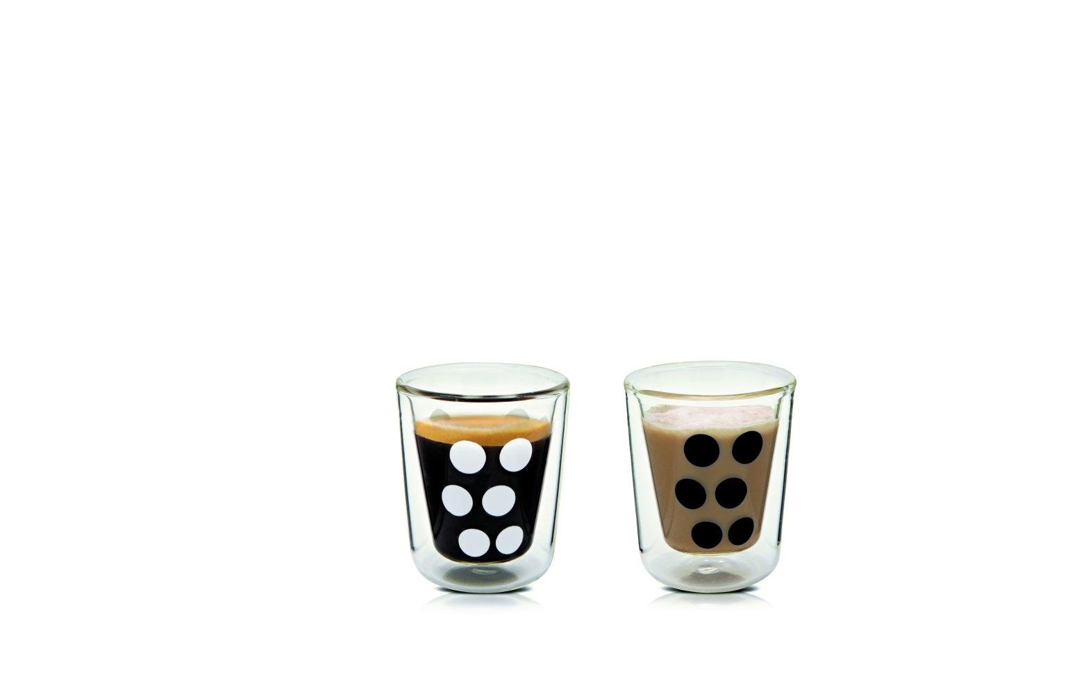 Zak!Designs Dot Dot Dubbelwandig Glas Espresso met Lepel 75 ml Set van 4 Stuks