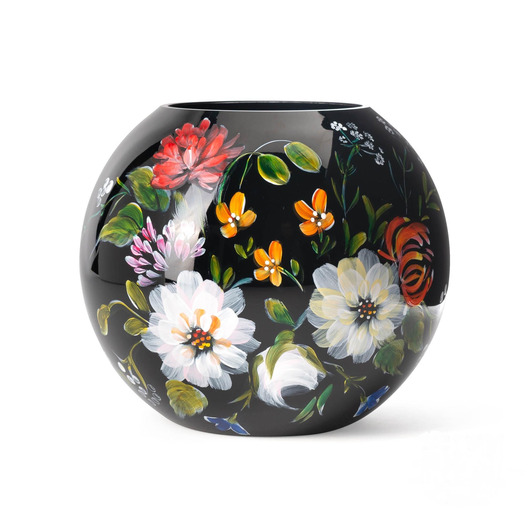 Fidrio Mondgeblazen en handbeschilderde Fidrio Bolvase Royal flowers vaas 40cm.