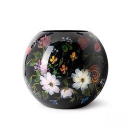 Fidrio Mondgeblazen en handbeschilderde Fidrio Bolvase Royal flowers vaas 25cm.